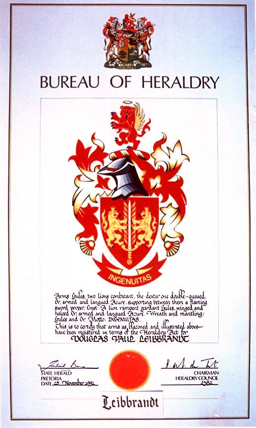 The South African Leibbrandt coat of arms